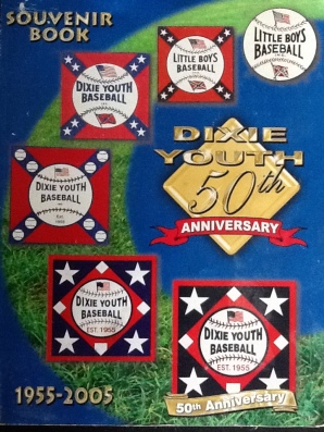 "This is the front cover of Dixie Youth Baseball's 50th Anniversary souvenir booklet which highlights its evolution from a segregated ""whites only"" league to its modern incarnation.  Its authors recognize South Carolina as the organization's birthplace but make no mention of the racial controversy that spawned it."
