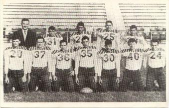 Coach E.C. Lerma with one of his 1940s Benavides High School football squads. Photo courtesy of the Lerma family.
