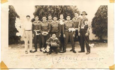 Coach E.C. Lerma with his 1944 Benavides High School regional champions basketball team. Photo courtesy of the Lerma family.