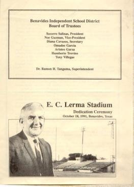 Part of the program for the re-naming of the Benavides High School football stadium in honor of Coach E.C. Lerma, 1991. Courtesy of the Lerma family.