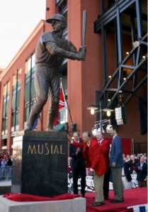 The Stan Musial Statue in front of the current Busch Stadium, with Stan the Man below. Photo Credit: David Carson