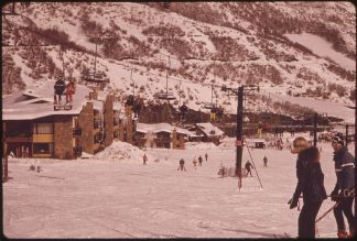 Chairlift Near Resort Condos. Aspen, Colorado,  (1974). Courtesy of Wikimedia Commons.