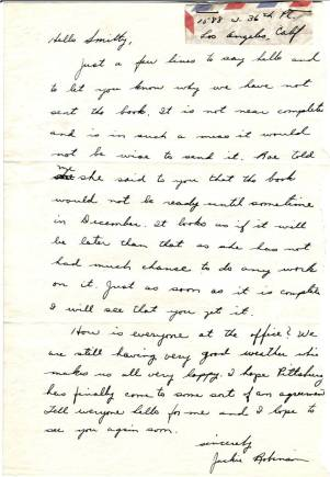 An example of the Wendell Smith Papers. Jackie Robinson to Wendell Smith, undated. (NBHOF Library)