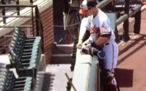 Orioles catcher Caleb Joseph signed imaginary autographs  prior to the game.
