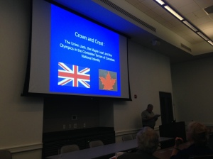 Robert K. Barney presenting on the Canadian national symbol. Courtesy of Andrew D. Linden.