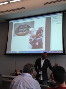 Damion Thomas presenting on including sport in the NMAAHC. Courtesy of Lindsay Parks Pieper.