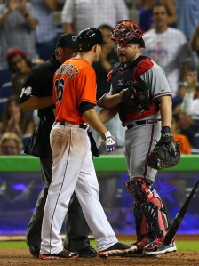 Sep 11, 2013; Miami Florida. McCann approaches Fernandez following home run. From Zimbio.com