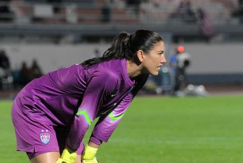 Hope Solo at a match in early 2015 (Wikimedia Commons)