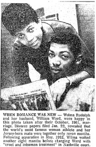 A photo from a 1963 edition of the Baltimore Afro-American describing Rudolph's martial troubles. From The Baltimore Afro-American, 2/9/63.