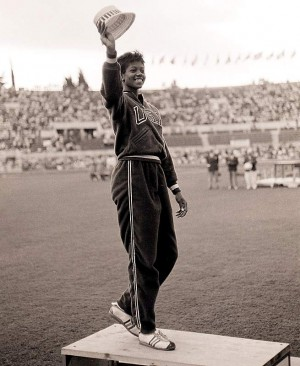 Wilma Rudolph on the podium at the 1960 Olympics. From sikids.com.