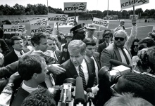 Former U.S. Rep. Jack Kemp is mobbed by supporters as he leaves a meet-the-candidates rally for Republican presidential candidates in the run-up to the 1988 party primaries. The rally occurred in county stadium in Union, S.C., on Oct. 3, 1987.
