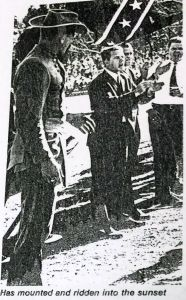 The Nathan Bedford Forrest mascot during one of its last appearances, on-field at an MTSU football game ceremony.