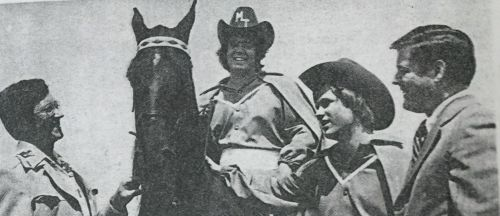 The debut of Wink's Choice as MTSU's new mascot, Raider I. The Mid-Stater, MTSU, Fall 1976.