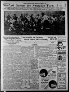 Headline and image from Stanford's famous victory over the Australians in 1912. The San Francisco Call October 17, 1912.