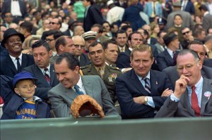 Bowie Kurn (on right) seated with President Richard Nixon on Opening Day. Courtesy of Wikimedia Commons).