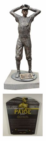 Legacy Square Satchel Paige statue and interpretive plaque