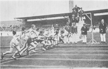 The 800 meter final start time at the 1928 Olympics. Photo: The Ninth Olympiad Being the Official Report of the 1928 Olympic Games Celebrated at Amsterdam