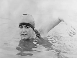 Gertrude Ederle swimming the English. Courtesy of Wikimedia Commons.