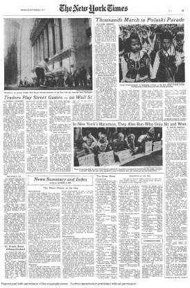 The page of the New York Times featuring the photograph of the 1972 New York City Marathon protest.