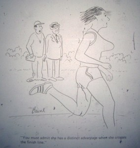 A cartoon from the January 1973 issue of Runner's World that captures the sentiment of the 1972 Johnson's Wax Crazylegs Mini-Marathon.