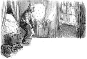 """""Scrooge Awakes,"" vignette for ""Stave 5. The End of It"" by Sol Eytinge, Jr. Scanned image and text by Philip V. Allingham. Courtesy of victorianweb.org."