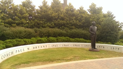"Statue of Paul W. ""Bear"" Bryant outside of Bryan-Denny Stadium. Photo: Edward J. Gray."
