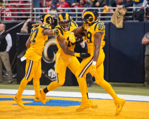 The Rams celebrate a touchdown during their last game in St. Louis. Photo Credit: Scott Rovak/Los Angeles Rams