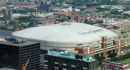 The Edward Jones Dome as viewed from the St. Louis Arch. Photo Credit: Kelly Martin/Wikimedia Commons