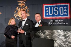 Manning receiving a USO-Metro Merit Awards, March 2015. Image from wikicommons.
