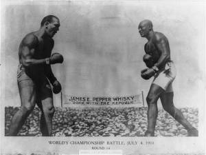Jack Johnson vs. Jim Jeffries, Reno, NV. Image from wikicommons.