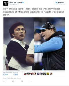 A Live NFL on ESPN tweet of Tom Flores (left) and Ron Rivera.  Photo Credit: https://twitter.com/ESPNNFL/status/691456682996686850/photo/1