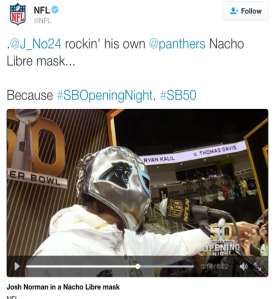 A live NFL tweet of Super Bowl 50 media day.