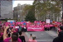 Planned Parenthood's Pink Out in New York City in the fall of 2015. (Image courtesy of Wikimedia Commons)