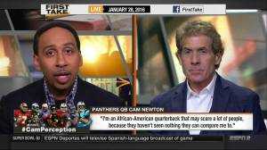 ESPN First Take pundits Skip Bayless and Stephen A. Smith discuss Newton's quote. Image from YouTube.