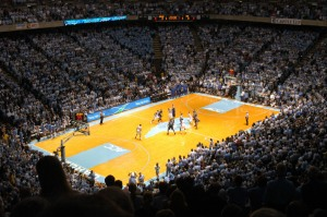 Tip-off for a Duke-North Carolina game at the Dean Smith Center in Chapel Hill, NC. Image from Wikimedia Commons.