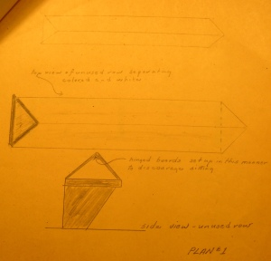 Fitzgerald's sketch of plan 1, the pyramid-like barriers.