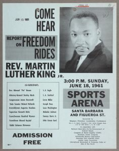 Flyer for Freedom Rides Rally, June 1961, Kenneth Hahn Collection, The Huntington Library, Art Collections, and Botanical Gardens, San Marino, CA
