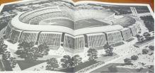 An artist's illustration of the proposed Olympic Stadium for Detroit's 1968 bid. The Stadium would have been located at the State Fair Grounds on Grand River in the heart of the city. Photo author's own.
