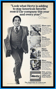 O.J. Simpson, Hertz Advertisement (Pinterest).