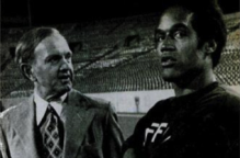 Simpson with Bills owner Ralph Wilson (Ebony, 1976).
