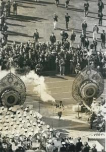 Yoshinori Sakai running up to the Olympic Cauldron at the opening ceremony of the 1964 Olympics at Tokyo's National Olympic Stadium. Image courtesy Wikimedia Commons.