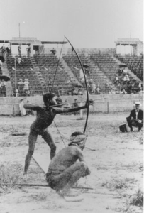 Archery on Anthropology Day at the 1904 St. Louis Olympics. A very different image greeted viewers in Sydney 2000. Image courtesy Wikimedia Commons.