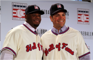 Ken Griffey Jr. and Mike Piazza during their induction ceremonies July 27th at Cooperstown, NY. Source: Wikimedia Commons