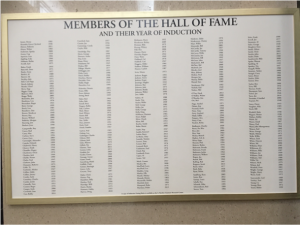 Members of the Hall of Fame (photo taken April 6, 2016)