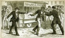 """""""Scene of the Shooting of Octavius V. Catto, on October 10, 1871."""" From The Trial of Frank Kelly for the Assassination and Murder of Octavius V. Catto (pamphlet), 1888, The Historical Society of Pennsylvania."""