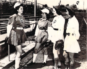Kinney, second from left, with the three other Cuban players in the All-American Girls Professional Baseball League. Photo courtesy of Ysora Castillo-Kinney.