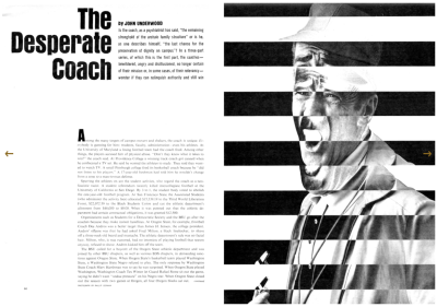 The Desperate Coach, Sports Illustrated, 25 August 1969.