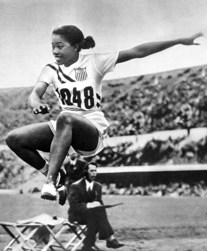 1952 Olympic Games. Helsinki, Finland. Womens Long Jump. Mabel Landry of the U.S.A. who was placed 7th.